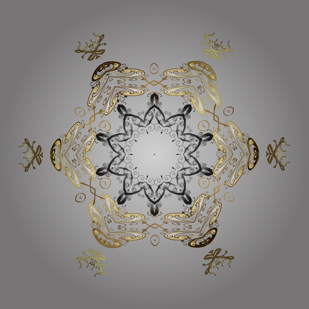 mitten: Isolated cute snowflakes on colorful background. Vector illustration. Gray, brown and beige colors with snowflakes. Illustration