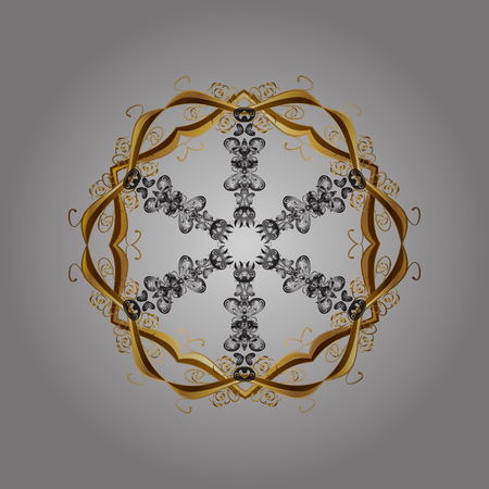 Hand-drawn, stylish doodle in tatto style, fabric design and cards in Vector illustration. Contour gray, brown and yellow mandala shaped snowflakes for art therapy style zen drawing.
