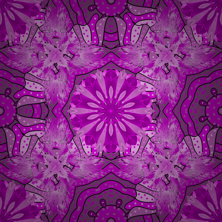 Vector illustration. Flowers on magenta, violet and purple colors. Abstract seamless pattern with hand drawing flowers.