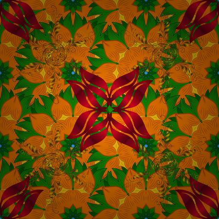 Tropical seamless floral pattern. Vector illustration. Flowers on orange, green and red colors. Illustration