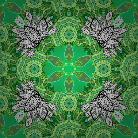 벡터 일러스트 레이 션. 녹색, 흰색 및 검은 색 색상으로 낙서 꽃과 함께 완벽 한 꽃 패턴.