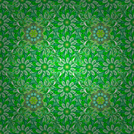 Flower pattern seamless on green, blue and white colors, hand-drawn chamomiles, daisies. Repeating floral backdrop, Elegant green, blue and white flowers wallpaper.