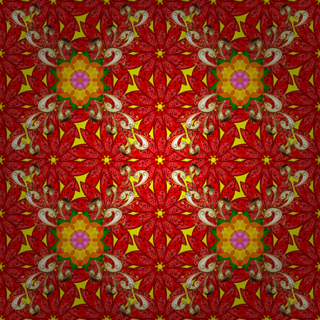 calico: Vector flower print. Vintage outline illustration. Floral red, yellow and beige seamless pattern. Illustration