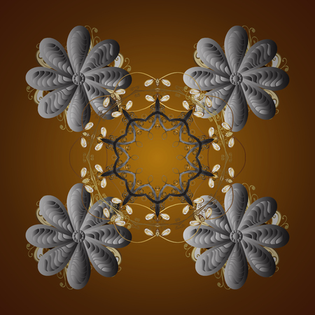Vector snowflakes winter New Year frame. Seamless pattern on brown background.