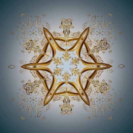 Vector gouden sneeuwvlokken en Kerstmis de winterpatroon. Digitale die hand van element in het schone, capricieuze en moderne oppervlaktepatroon wordt getrokken op kleurrijke achtergrond.