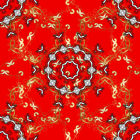 Traditional vector and golden pattern. Classic oriental pattern over red, black and brown colors. Damask seamless ornament.