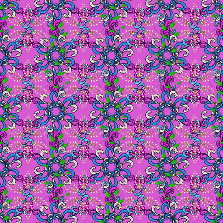 Vector illustration. Seamless floral pattern in folk style with flowers, leaves. Hand drawn.