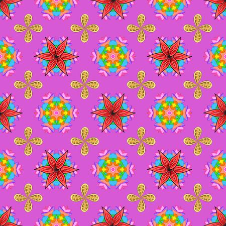 Vector sin patrón floral. Flores del valle en colores violetas, rosados ??y anaranjados. Foto de archivo - 90873453