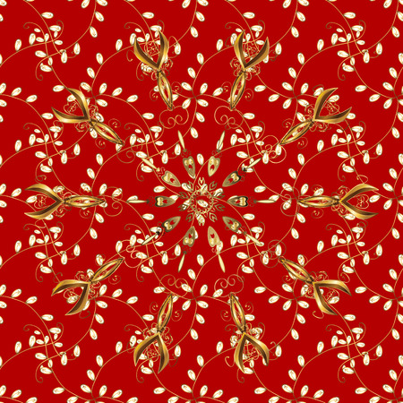 Golden pattern on red, brown and yellow colors with golden elements. Seamless classic golden pattern. Vector traditional orient ornament.