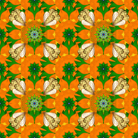 3d flowers, seamless. Vector illustration. On orange, green and yellow colors.