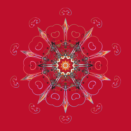 Contour red, gray and pink mandala shaped snowflakes for art therapy style zen drawing. Hand-drawn, stylish doodle in tatto style, fabric design and cards in Vector illustration. Illustration