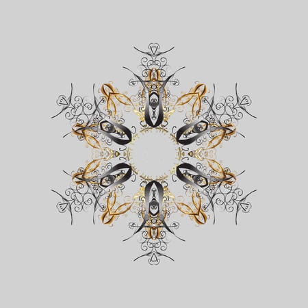 Isolated nice snowflakes on colorful background.Vector illustration. Snowflakes radial gray, brown and beige colors. Illustration