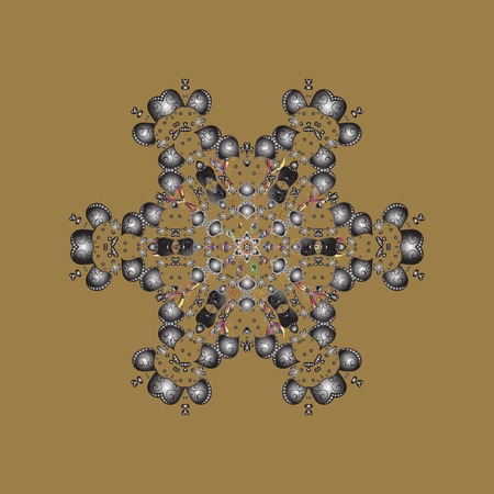 Winter pattern made of snowflake on beige, gray and brown colors. Vector illustration. Winter concept. Flat lay. Illustration