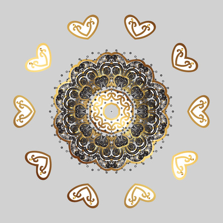 Vector illustration. Decorative Texture Background of Mandalas. Lacy Fashion Print for Textile. Design for Fabric or Wallpaper. Ethnic of Lace Snowflakes. Stylized Flowers. Folk Style.