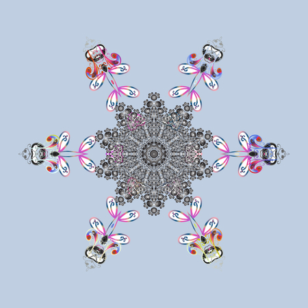 Gray, white and blue snowflakes. Vector design. Christmas cute background with snowflakes abstract background. Gray, white and blue colors. Holiday design for Christmas and New Year fashion prints.