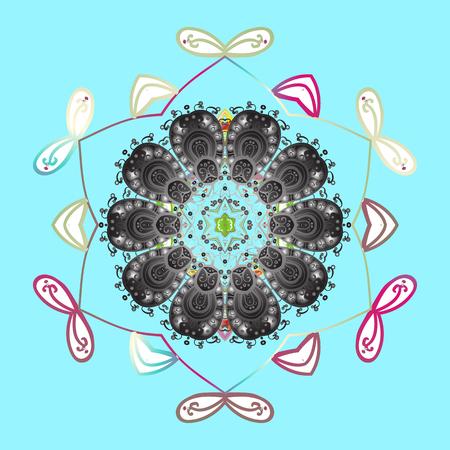 Vector illustration. Snowflakes icon in doodle sketch lines. Winter snow December season.
