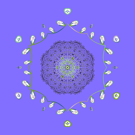 Crystal snowflake in violet, gray and green colors on violet, gray and green colors. Vector illustration.