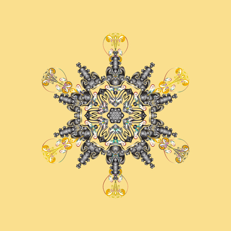Different snowflake collection vector, winter elements on a yellow, gray and white colors. Vector christmas abstract colorful background with cute snowflake.
