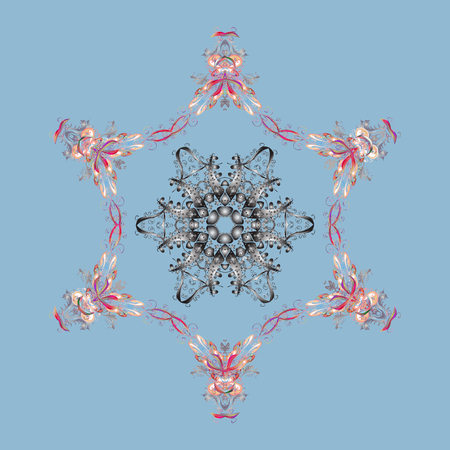 Contour blue, gray and neutral mandala shaped snowflakes for art therapy style zen drawing. Hand-drawn, stylish doodle in tatto style, fabric design and cards in Vector illustration.