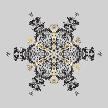 Design on gray, brown and beige colors. Abstract background with Floral Elements. Vector winter pattern. Vector illustration.