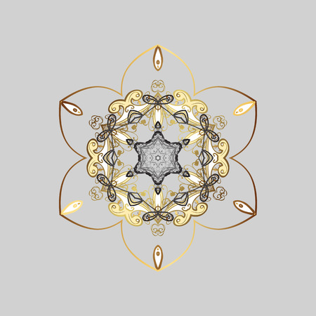 Vector illustration. Isolated cute snowflakes on colorful background. Fine snowflake. Abstract winter gray, beige and brown ornament. Round vector snowflake.