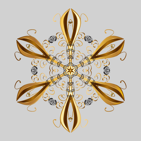 Gray, brown and yellow colors. Vector illustration. Holiday design for Christmas and New Year fashion prints. Christmas pattern with snowflakes abstract background.