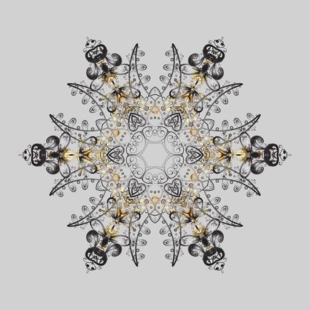 Vector illustration. Vector illustration. Snowflake Icon. Snowflake isolated on gray, brown and beige colors. Illustration