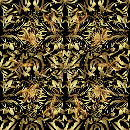 Vector illustration. Seamless pattern on black, neutral and brown colors with golden elements. Traditional orient ornament. Seamless classic vector golden pattern. Classic vintage background.