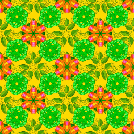 Flowers on green, yellow and orange colors. Vector illustration. Seamless flowers pattern. In asian textile style. Colour Spring Theme seamless pattern Background. Flat Flower Elements Design.