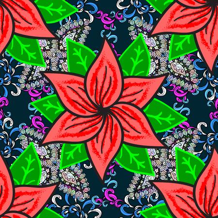 Floral blue, green and pink seamless pattern. Vector Tender fabric pattern. Vector flower print. Vintage outline illustration.