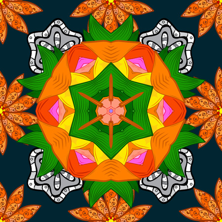 Vector illustration. Seamless pattern. Floral wallpaper. Indian ornament. Colorful ornamental border. On orange, blue and green colors.