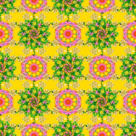 Colour Spring Theme seamless pattern Background. Flat Flower Elements Design. Cute flowers pattern with yellow, green and orange colors. Vector Fashionable fabric pattern.