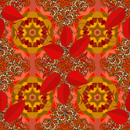 Seamless Floral Pattern in Vector illustration. Flowers on orange, brown and red colors.