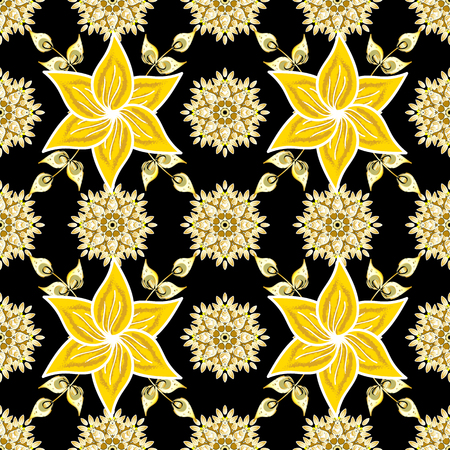 Boho style flower seamless pattern. Tiled mandala design, best for print fabric or papper and more. Vector Mandala. Black, yellow and white colors.