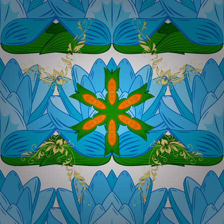Shirt seamless Background Pattern. Tropical flowers. Flowers on blue, green and white colors.
