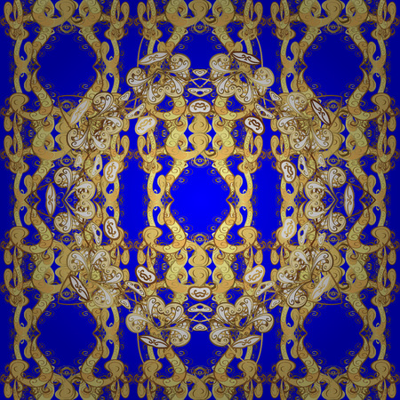 Golden pattern on blue, yellow and brown colors with golden elements. Ornate vector decoration. Seamless damask pattern background for wallpaper design in the style of Baroque.