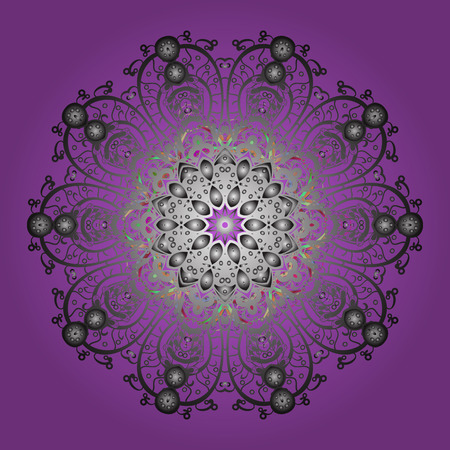 Illustration vectorielle Isolé du vecteur violet, des flocons de neige gris et neutres. Collection de flocons de neige. Ornement d'hiver fin.