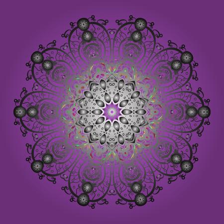 Vector illustratie Geïsoleerd van vector violette, grijze en neutrale sneeuwvlokken. Sneeuwvlokken collectie. Fijn winterornament. Stock Illustratie