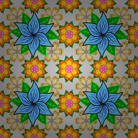 A pattern of gray, yellow and green daisies on a gray, yellow and green colors. Vector illustration. On gray, yellow and green colors. Illustration