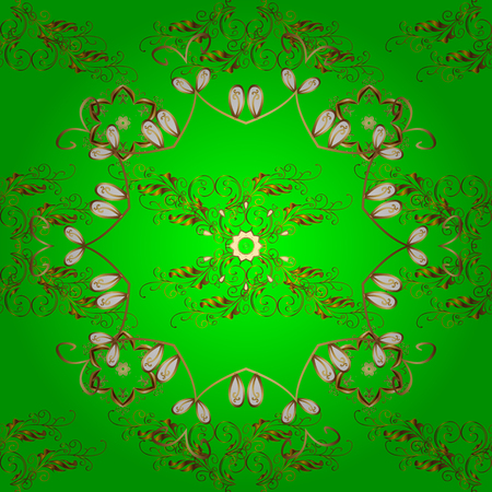 Ornate vector decoration. Seamless damask pattern background for wallpaper design in the style of Baroque. Golden pattern on green, brown and yellow colors with golden elements.