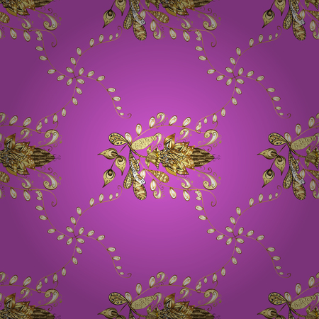 Vector golden floral ornament brocade textile and glass pattern. Seamless golden pattern. Violet, yellow and beige colors with golden elements. Gold metal with floral pattern.