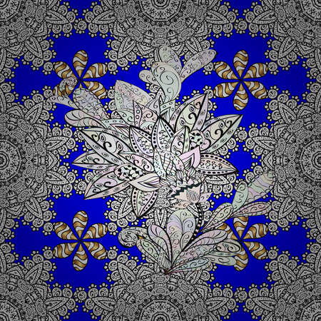 Seamless element woodcarving. Patina. Pattern on white, blue and gray colors with golden elements. Luxury furniture. White, blue and gray tree with gold trim. Furniture in classic style. Carving.