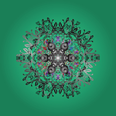 Vector illustration. Magic green, gray and neutral holiday abstract background with star and falling snowflakes. Christmas green, gray and neutrals.