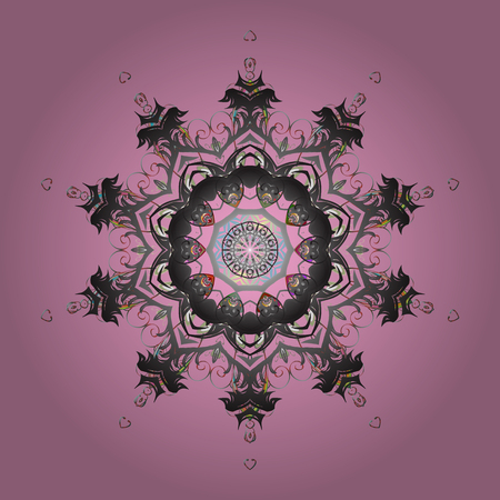 Pink and gray snowflakes card design. Illustration