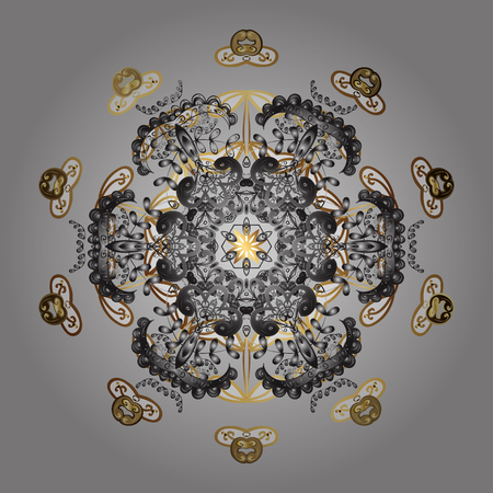 Beautiful decoration. Symbol of winter. Vector illustration with gray, brown and white isolated snowflakes. Isolated watercolor snowflakes on gray, brown and white colors.