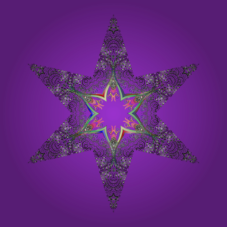 Round vector snowflake. Vector illustration. Abstract winter violet, gray and green ornament. Isolated cute snowflakes on colorful background. Fine snowflake.