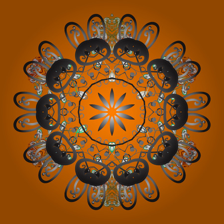 Fine winter ornament. Vector illustration. Snowflakes collection. Isolated of vector orange, gray and brown snowflakes.