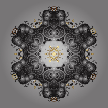Vector illustration with gray, brown and neutral isolated snowflake. Isolated watercolor snowflakes on gray, brown and neutral colors. Beautiful decoration. Symbol of winter.