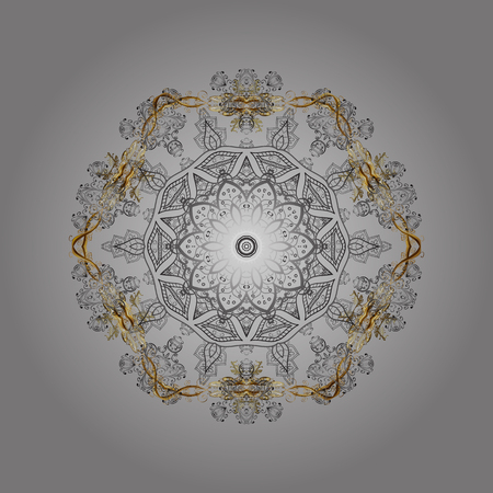 Isolated watercolor snowflakes on gray, brown and beige colors. Beautiful decoration. Vector illustration with gray, brown and beige isolated snowflake. Symbol of winter.
