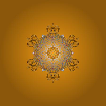 Schneeflocken-Muster. Vektor-Illustration. Flaches Design von Schneeflocken lokalisiert auf buntem Hintergrund. Ornamentales Muster der Schneeflocke. Schneeflocken Hintergrund. Illustration